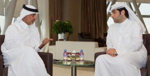 سعادة رئيس الاتحاد يستقبل سلمان الأنصاري رئيس الرابطة القطرية للاعبين